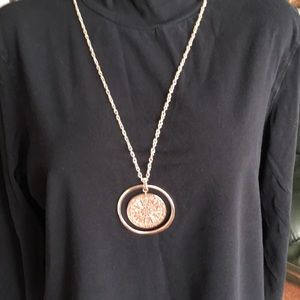 Rose gold glitter accent piece pendant